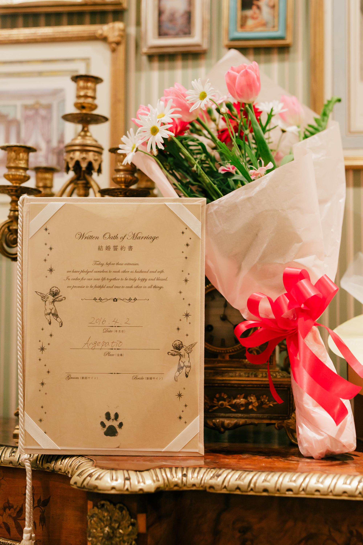 こちらが愛犬が肉球サイン入り結婚証明書♪