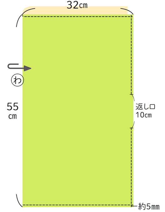 1.今回は縦55cm、横64cmの布を用意。生地の表を中にして返し口10cmくらいを開けて点線を縫う(約5mm幅)。入れるカトラリーのサイズ、量によって布のサイズはお好みで。