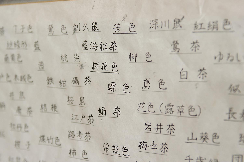 工房の傍に貼ってある色名の表。日本人は色に対し、かくも美しい名前をつけていったのだ。