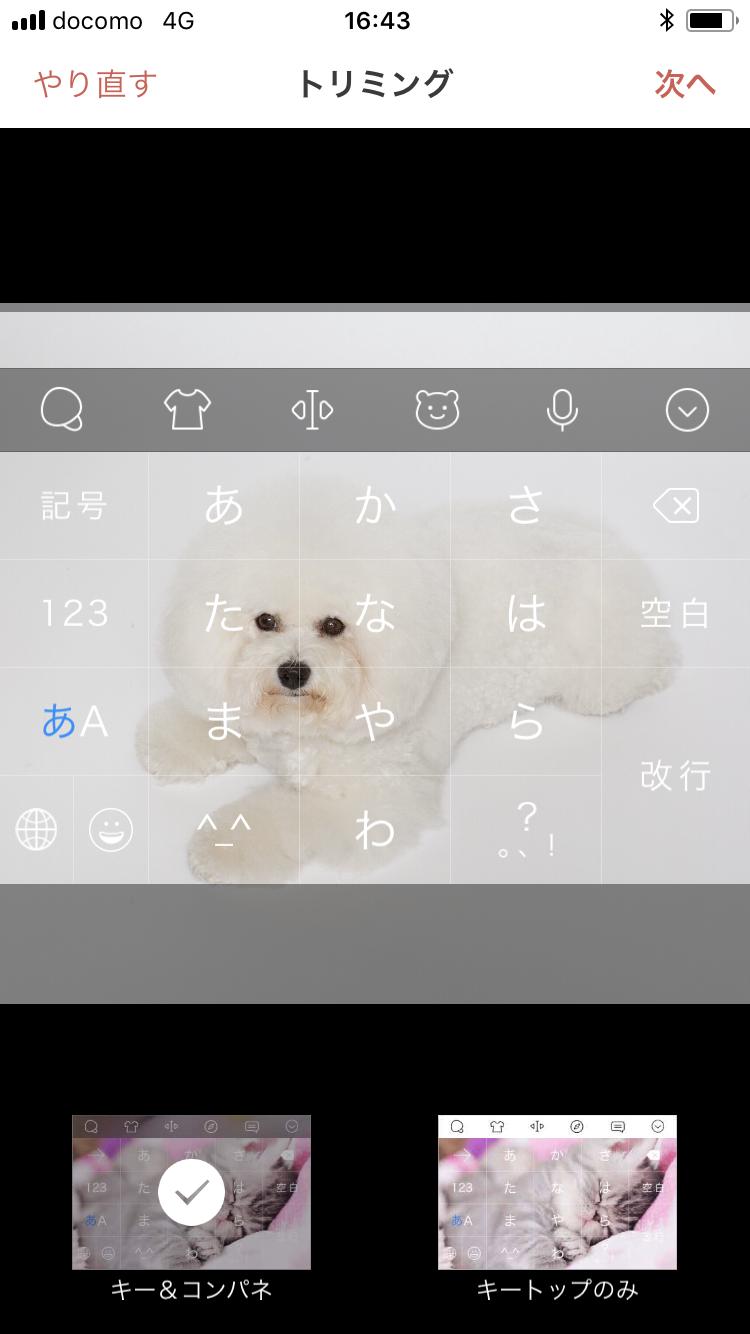 キーボードにしたい画像を選んだら、目などに文字がかぶらないように調整しよう!