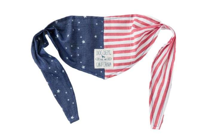 ●衣装:アメリカクールバンダナ(M/2,500円+税)アメリカ国旗がクールな印象。保冷剤付きなので、夏のおしゃれにぴったり/DOG DEPT