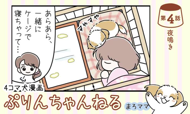 【まんが】第4話:【夜鳴き】描き下ろし漫画♪ 4コマ犬漫画「ぷりんちゃんねる」(著者:まろママ)