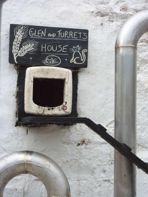 スティルルームに、猫たちのために特別に作られた入り口
