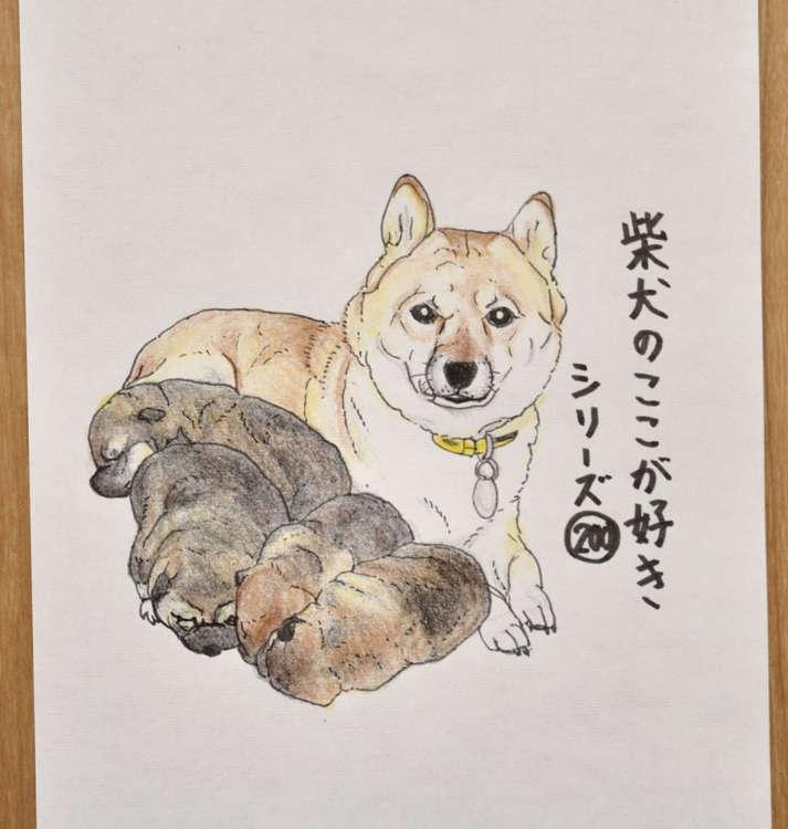 シリーズ200「生まれてすぐはおいもさんみたいなところ」。モデルは西田さんの愛犬・ハナと子犬たち。