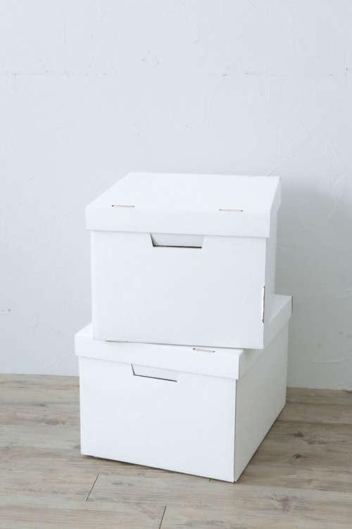 フタ付きの収納用ダンボール箱を、つくりたいハウスの数だけ用意。