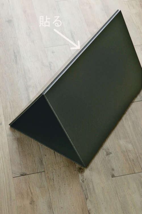 三角形に組み立てて、頂点をテープで貼る。
