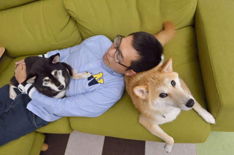 しば「ふかふか犬枕だよー」 パパ「遠赤外線よりあったかいね」