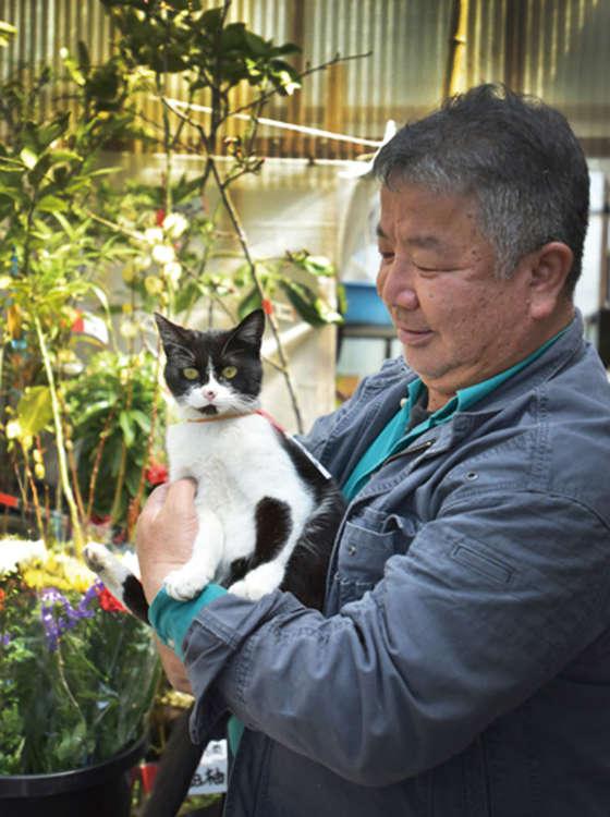 飼い主の岡田さんと。農家のため、田植えと稲刈りで店がお休みの日があるのでご注意を