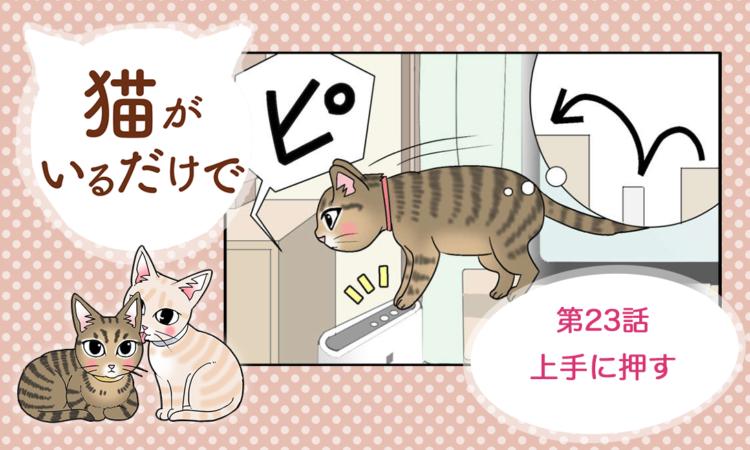 【まんが】第23話:【上手に押す】まんが描き下ろし連載♪ 猫がいるだけで(著者:暁龍)