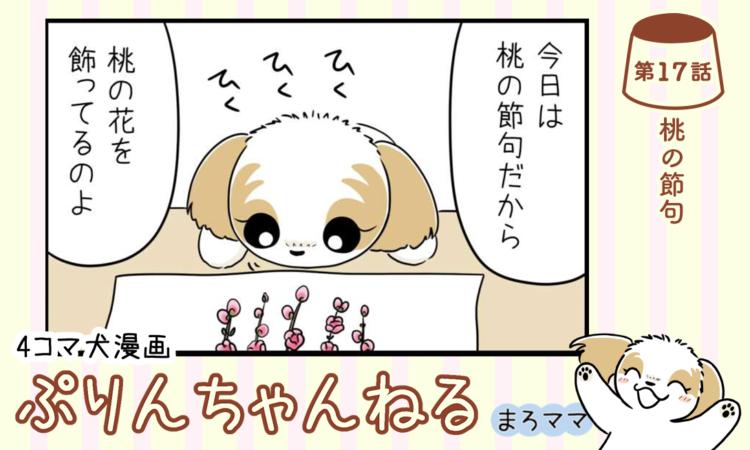 【まんが】第17話:【桃の節句】描き下ろし漫画♪ 4コマ犬漫画「ぷりんちゃんねる」(著者:まろママ)