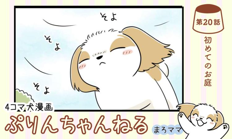 【まんが】第20話:【初めてのお庭】描き下ろし漫画♪ 4コマ犬漫画「ぷりんちゃんねる」