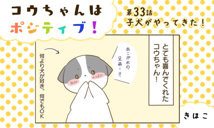 【まんが】第33話:【子犬がやってきた!】まんが描き下ろし連載♪ コウちゃんはポジティブ!