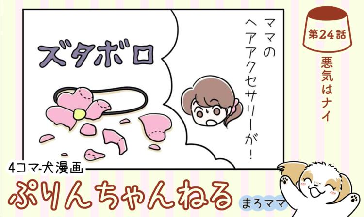 【まんが】第24話:【悪気はナイ】描き下ろし漫画♪ 4コマ犬漫画「ぷりんちゃんねる」