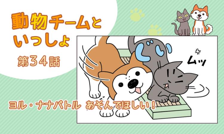 【まんが】第34話:【ヨル・ナナバトル あそんでほしい!】描き下ろし漫画♪「動物チームといっしょ」