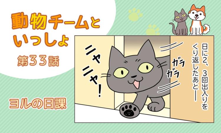 【まんが】第33話:【ヨルの日課】描き下ろし漫画♪「動物チームといっしょ」(著者:月田エミ)