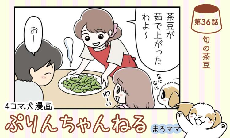 【まんが】第36話:【旬の茶豆】描き下ろし漫画♪ 4コマ犬漫画「ぷりんちゃんねる」(著者:まろママ)