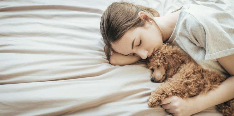 愛犬と一緒に寝ている飼い主さん。布団に染みついた動物臭が体にも移っているかも?