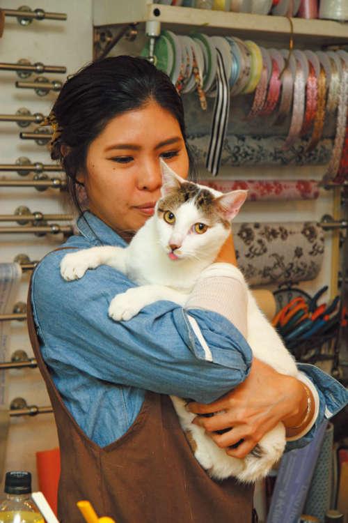 お茶目なこぶはスタッフの亀谷香子さん(33歳)と仲良し