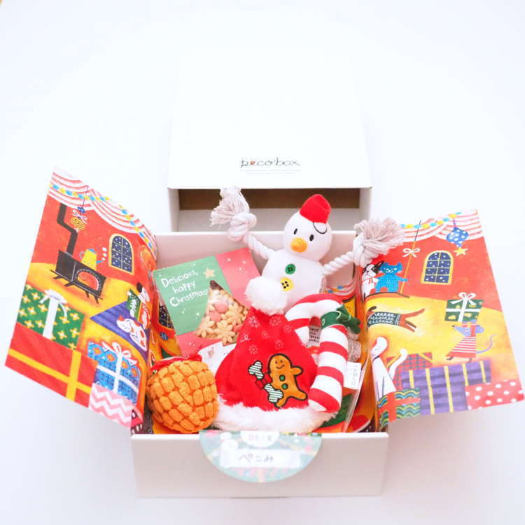 「PECOBOX(ペコボックス)」2018年12月クリスマス号の中身(オリジナルおもちゃ、おやつ)