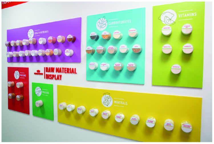 使用する原材料の一部。検査を通過した材料は、微細にすりつぶされて使用されます