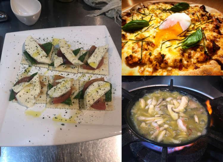 カプレーゼ(左)、ピザ(右上)、アヒージョ(右下)……本格派イタリアンに舌鼓