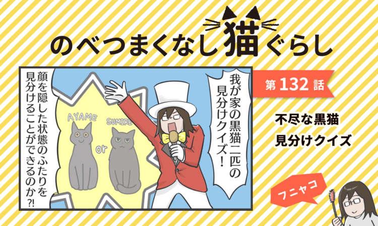 【まんが】第132話:【理不尽な黒猫見分けクイズ】まんが描き下ろし連載♪ のべつまくなし猫ぐらし