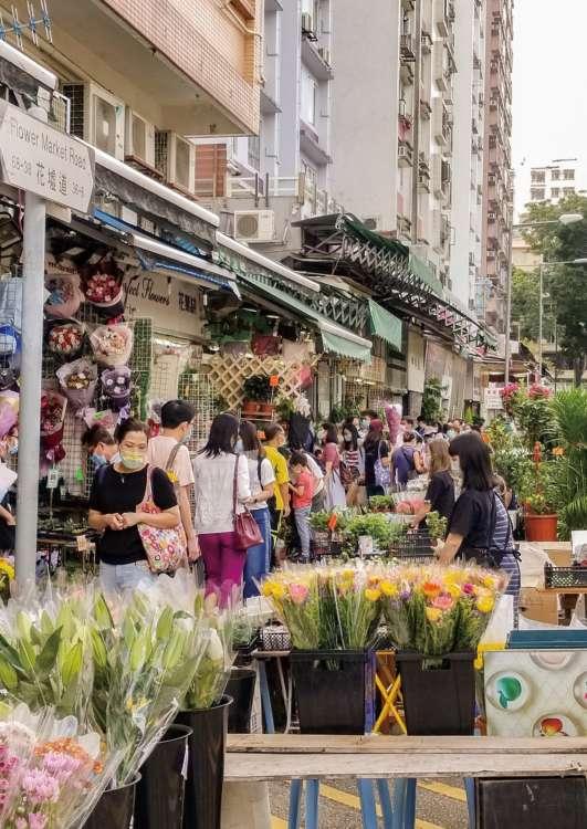 天気のいい休日は、大勢の人で賑わうフラワーマーケット