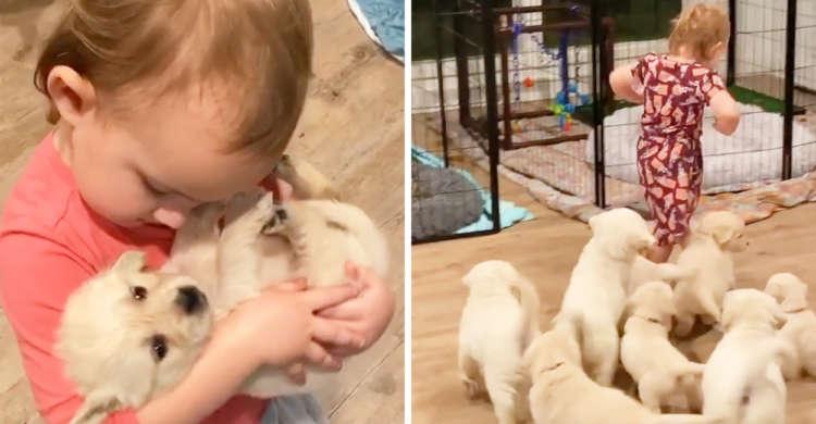 【小さな小さなお母さん♡】子犬を我が子のようにあやす女の子。お互いの大好きが溢れて…キュンッ♪