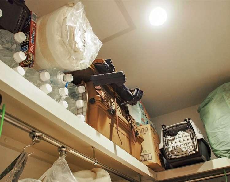 クローゼットの棚には、水やペットシーツなどを常備